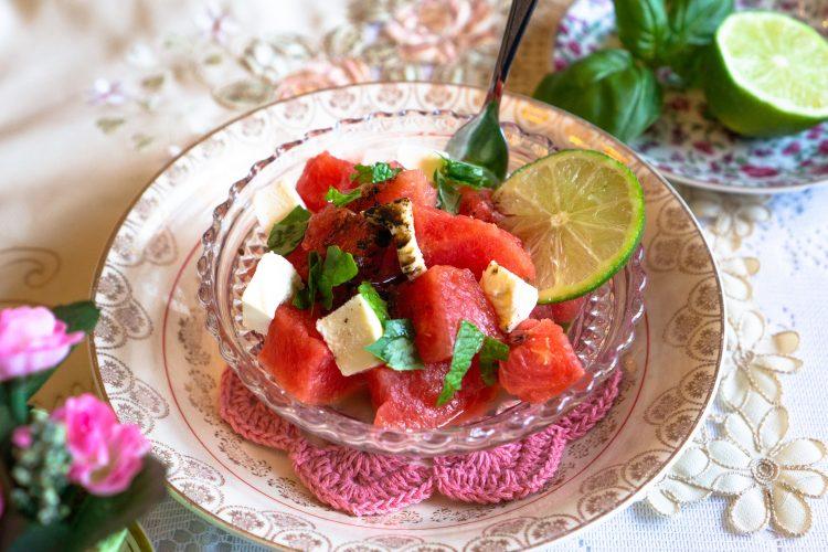 Watermelon Salad with Pomegranate Vinaigrette   Erica Robbin